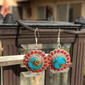 Jewelry - Turquoise Blue Copper Sterling Silver Earrings